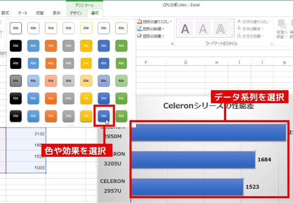 グラフの棒を選択後、「グラフツール」の「書式」を開き、「図形のスタイル」からパターンを選択