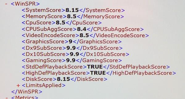 展示機の「Windowsシステム評価ツール」の結果。「GamingScore」が最高値の「9.9」になっていました