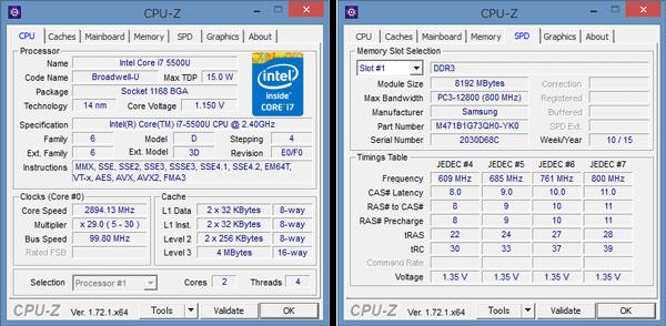 「CPU-Z」によるCore i7-5500Uの詳細情報。メモリーには8GBのモジュールがひとつ使われていました