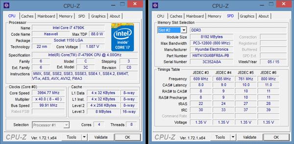「CPU-Z」によるCPUとメモリーの詳細情報。16GBのメモリーを搭載した試用機では、8GBのメモリーモジュールが2枚使われています