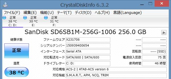 試用機ではSSDにサンディスク製の「SanDisk X110 」シリーズ256GBモデル(SD6SB1M)が使われていました