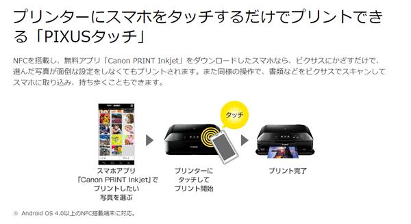 NFC対応のスマートフォンやタブレットを操作パネル右側のNFCポートかざすだけで、写真や文書をプリント可能です ※出典元:キヤノンq