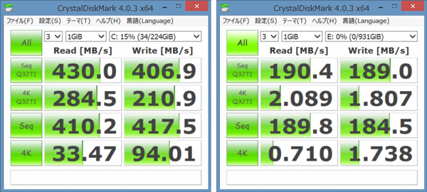 「CrystalDiskMark」計測結果。左がSSDで右がHDD