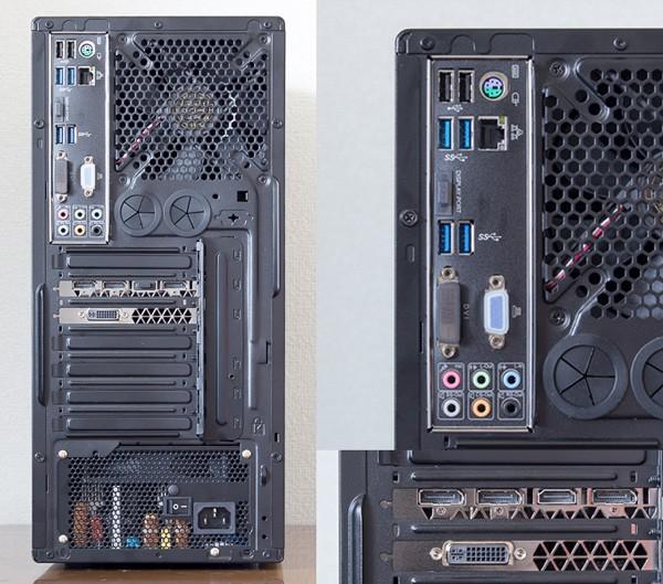 バックパネルにはUSB3.0端子×2、USB2.0端子×2、有線LAN端子、オーディオ端子類、HDMI端子、DVI端子、DisplayPort端子×3を用意