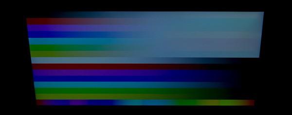 視野角はやや狭めです。特に上方向から見ると色が白くなってしまいますが、現実的にはこの方向から見ることはあまりないでしょう