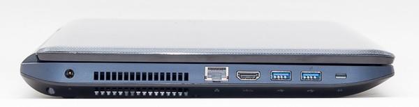 右側面は電源コネクターと1000BASE-T対応有線LAN端子、HDMI端子、USB3.0端子×2を搭載