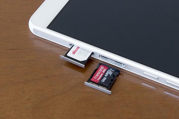 ナノSIMカード用のスロットは、microSDカードスロットとしても利用可能です