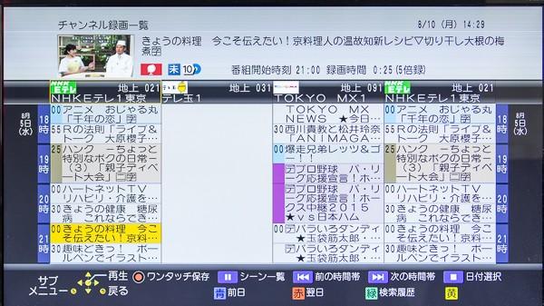 チャンネル録画の一覧画面。番組表そのものです