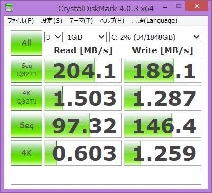 「CrystalDiskMark」計測結果