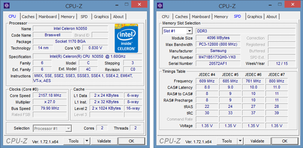 「CPU-Z」によるCeleron N3050の詳細情報。メモリーには4GBのモジュールがひとつ使われています