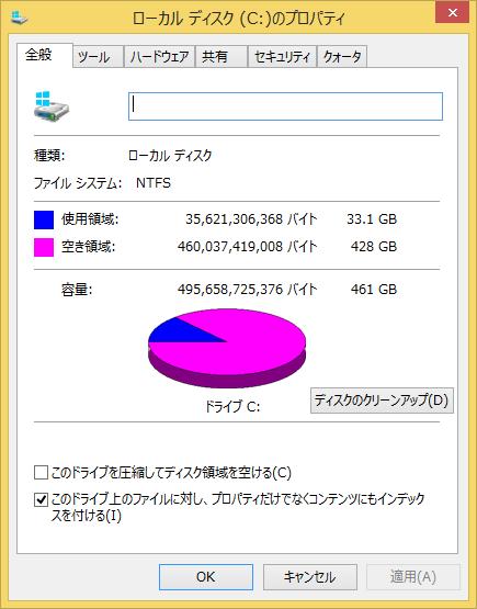 Cドライブには428GBの空き容量が残されていました