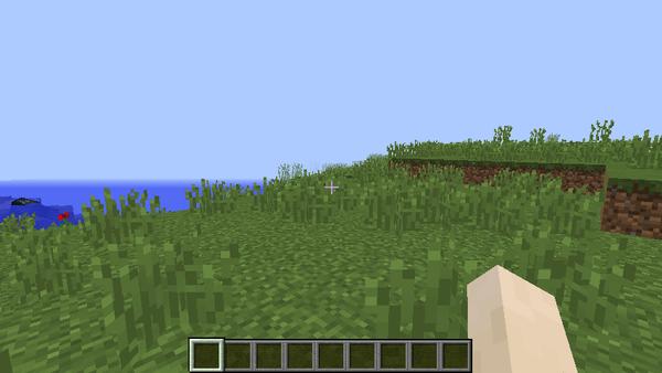 チャンクを「2」に設定したときの画面。上の画面とまったく同じ場所なのですが、遠くの地形が