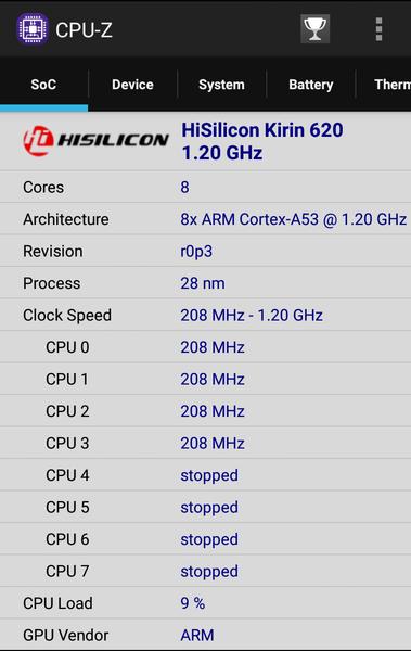 「CPU-Z」によるプロセッサーの詳細情報。負荷が低いときは動作するコアの数が少なく、さらに動作周波数も抑えられていることがわかります