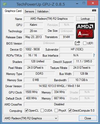 「GPU-Z」によるAMD Radeon R2 グラフィックスの詳細情報