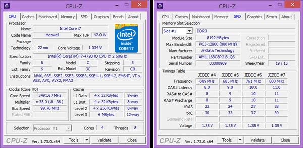 「CPU-Z」によるCPUの詳細情報。メモリーには8GBのモジュールが1個使われていました