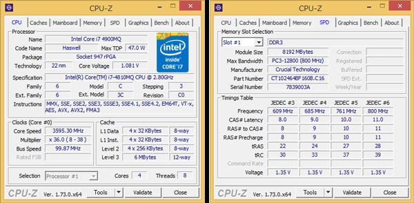 「CPU-Z」では「Core i7-4900MQ]と表示されていますが、実際にはCore i7-4810MQです(写真左)。メモリーには8GB×2の合計16GBを搭載しています