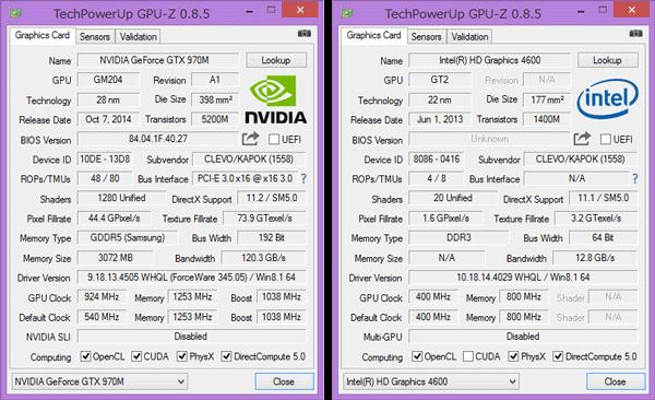 外付けGPUとしてGeForce GTX 970M(3GB)を搭載。負荷の低いときはCPU内蔵のIntel HD Graphics 4600が使われます