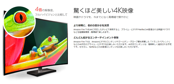 Amazon Fire TVは4K動画の再生に対応しています