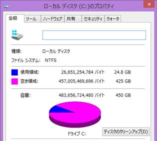 Cドライブには885GBの空き容量が残されていました