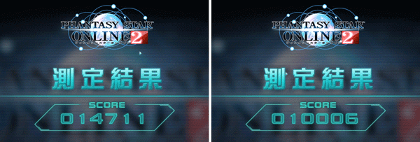 「PSO2キャラクタークリエイト体験版」ベンチマーク結果。左が簡易描画モード「3」で、右が簡易描画モード