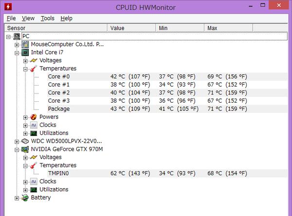 負荷の高いベンチマーク中でも、CPUとGPU温度は70度前後でした