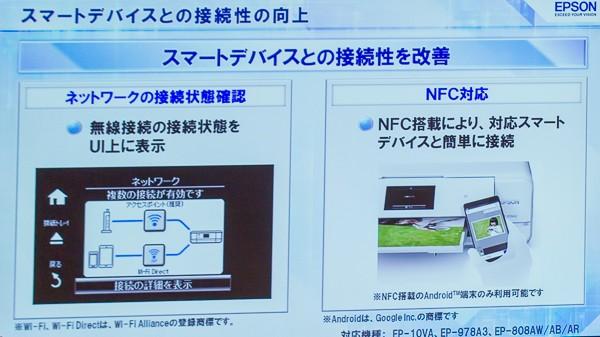アクセスポイント経由の接続や、WiFiダイレクト経由の接続状況をひと目で確認できます