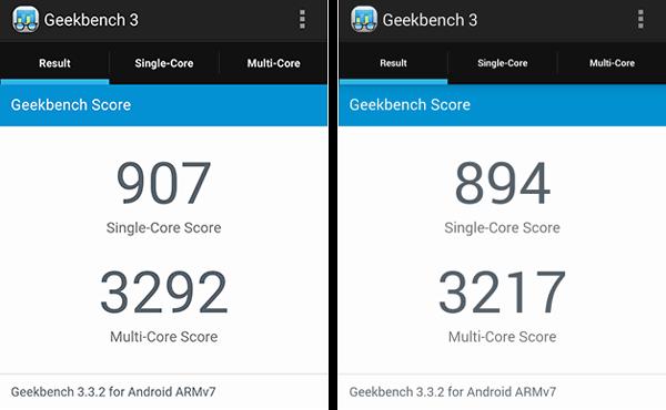 「Geekbench 3」はスコアが微増していますが、誤差の範囲内かもしれません