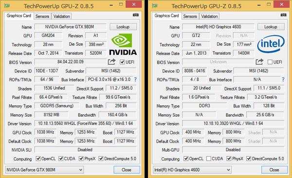 外付けGPUとしてGeForce GTX 980M(8GB)を搭載。負荷の低いときはCPU内蔵のIntel HD Graphics 4600が使われます