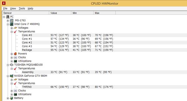 FF14ベンチ実行後の温度状況。ベンチマーク中はCPUやGPUが70~80度に程度にまで上昇しまいsたが、本体側まで熱くなることはありませんでした