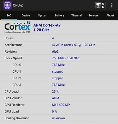 プロセッサーの中身はARM Cortex-A7で、4年前に発表されたアーキテクチャを採用しています