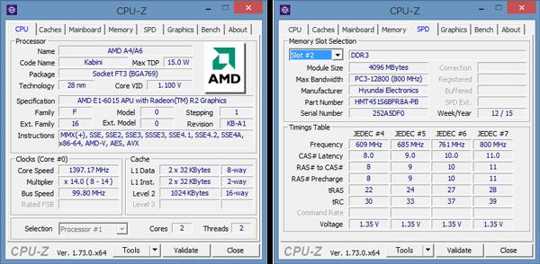 E1-6015は、2コア2スレッドで動作します。メモリーには4GBのモジュールがひとつ使われていました