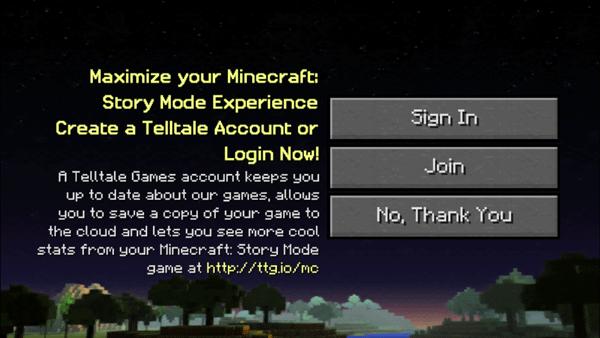 Telltaleアカウントでのサインインを求められますが、アカウントを作りたくなければ「No, Thank You」でもOKです