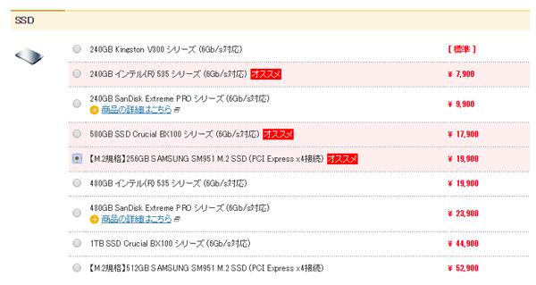 システムストレージ用のSSDには、256GBのSM951を選択しました