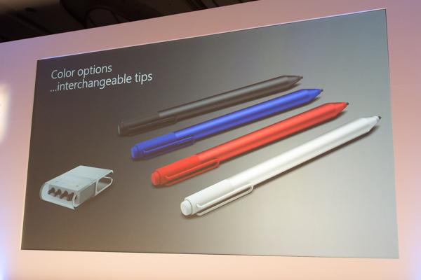 ペンのカラーバリエーションはシルバー、ブラック、レッド、ブルーの5色(シルバー以外は別売り)。さらに4種類のペン先もセットで付いています