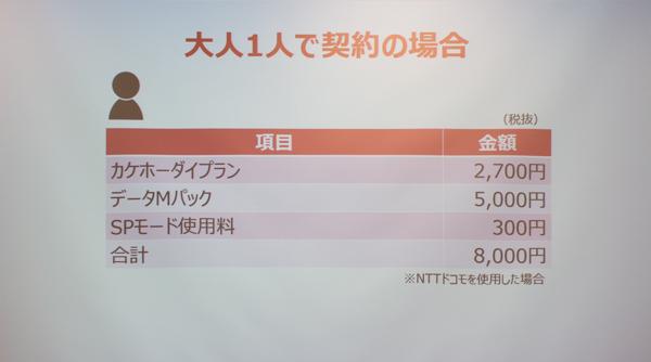 大人ひとりのプラン条件(NTTドコモの場合)