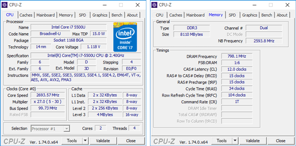 Core i7-500Uは2コア/4スレッドのデュアルコアCPUで、動作周波数は2.4GHz。メモリーはLPDDR3の8GBを搭載しています