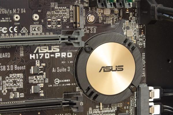 マザーボードの丸い部分にH170チップセットが配置されています