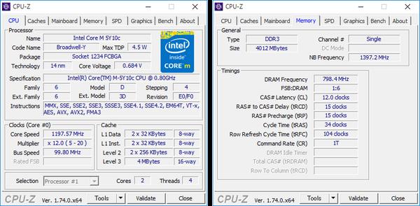 CPUとメモリーの詳細情報。メモリーにはDDR3が使われています