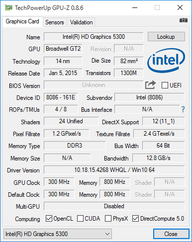 Intel HD Graphics 5300の詳細情報