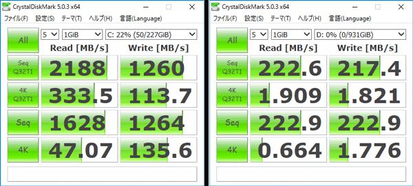 新モデルの「CrystalDiskMark」計測結果。左がSSDで右がHDD