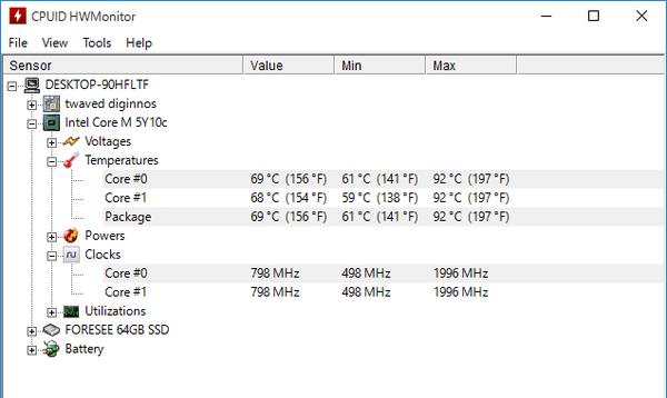 FF14ベンチ実行中のCPU温度