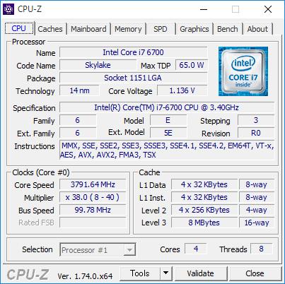 Core i7-6700の詳細情報