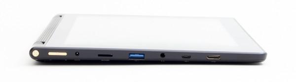 タブレット右側面には電源ボタンと音量調節ボタン、電源コネクター、microSDカードスロット、USB3.0端子、ヘッドホン端子、microUSB端子、Mini HDMI端子が配置されています