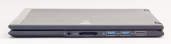 左側面にはヘッドホン出力とSD/SDHC/SDXC対応メモリーカードスロット、USB3.0端子×2、HDMI端子
