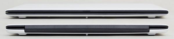 本体の前面(上)と背面(下)。上下の白いカバーが液晶ディスプレイとキーボードを包み込むよう