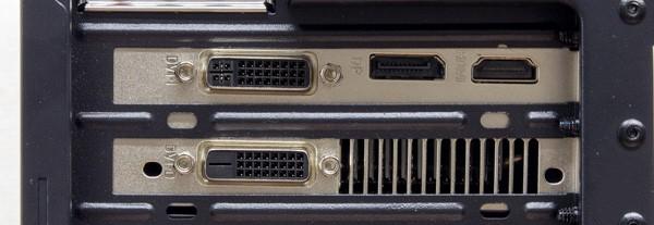 映像出力には、GTX960に搭載されている端子を使います。出力系統はDVI×2、HDMI、DisplayPortの構成です