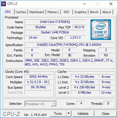 Core i7-6700HQの詳細情報。動作周波数は2.6GHzで、ターボブースト時の最大動作週蓮は3.5GHz