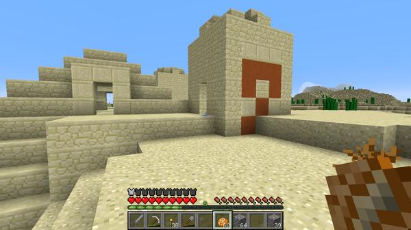 村とスポーン地点の中間あたりにある砂漠の寺院