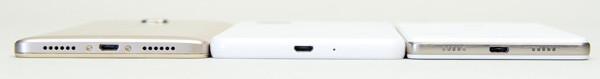 HUAWEI GR5には丸みがありますが、ほかの2台はフラットなデザインです
