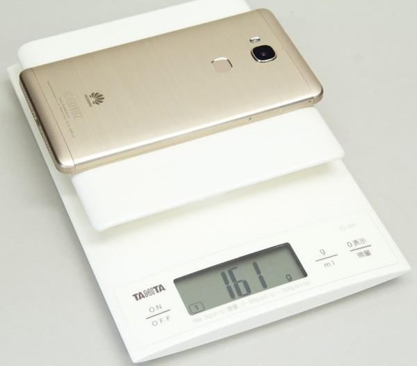 重量は公称値で158g、実測値で161gでした